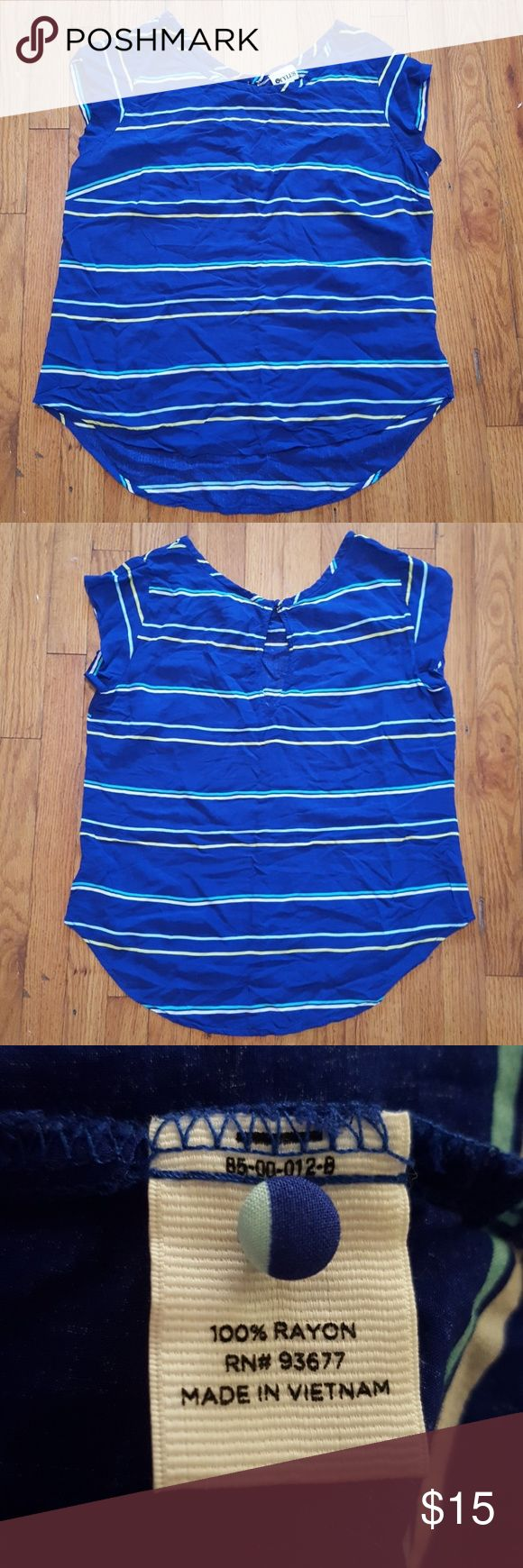 Stylus Striped Blouse Beautiful, royal blue blouse with white, yellow and light blue horizontal stripes. It's 100% rayon and comes with an extra button. Used twice. STYLUS Tops Blouses