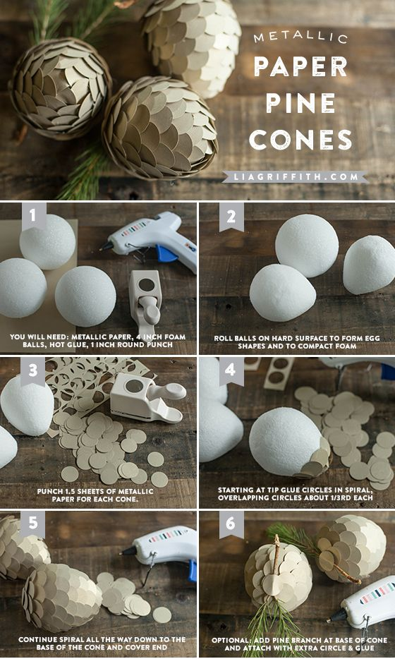 Metallic Paper Pine Cone Tutorial