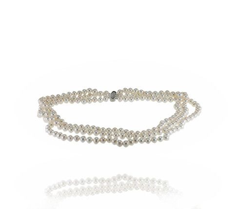 Pure Pearl™ Three-Ring 45cm Strand with a rhodium plated clasp- Buy it now: http://www.australianpearldivers.com.au/collections/freshwater-pearls/products/pure-pearl-three-ring-strand-1