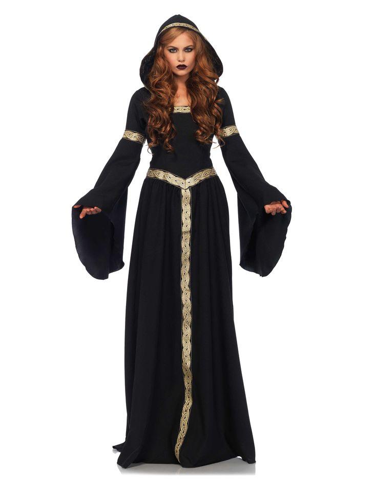 Disfraz de bruja céltica mujer Halloween: Este disfraz de bruja celta es para mujer. Incluye un vestido largo de tela mate negra con un ribete dorado en la cintura, cuellos, mangas y capucha.Por detrás tiene una lazada negra para...
