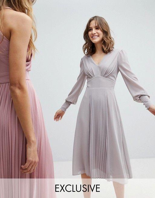 02ce4c11 TFNC Long Sleeve Midi Bridesmaid Dress With Pleated Skirt | wedding |  Bridesmaid dresses, Long sleeve midi dress, Grey midi dress
