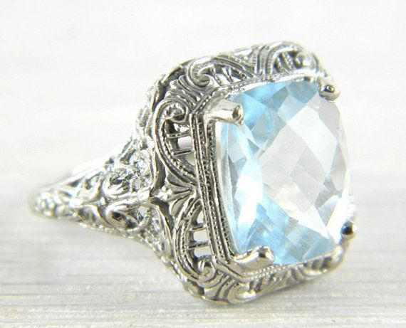 14K White Gold 4.0 ct. Aquamarine Filigree by AntiqueJewelryAddict, $679.99