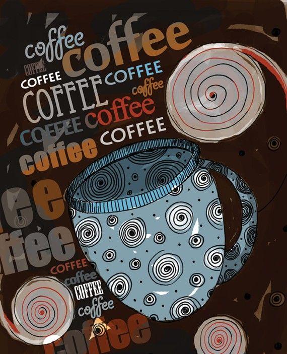 I Heart Coffee / original illustration ART Print by studio3ten http://www.etsy.com/listing/99040263/clearance-christmas-winter-santa-kitchen