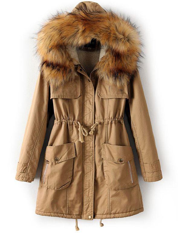 Хаки с капюшоном искусственно меховое пальто EUR€38.30