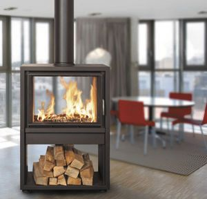 Wood heating stove / contemporary / metal / double-sided - STUDIO PLUS - BODART & GONAY
