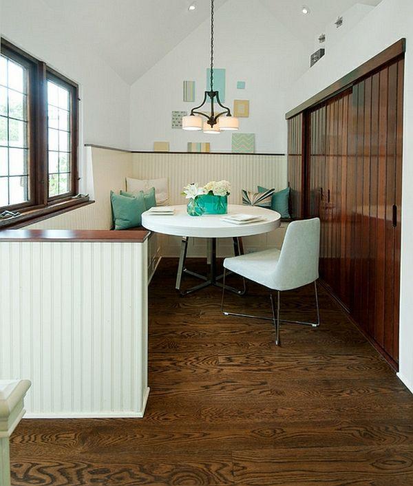 50 Einrichtungsideen Für Kleine Esszimmer   Esszimmer Esstisch Mit Stühlen  Eingebaut Kleiderschrank Türkis Kissen