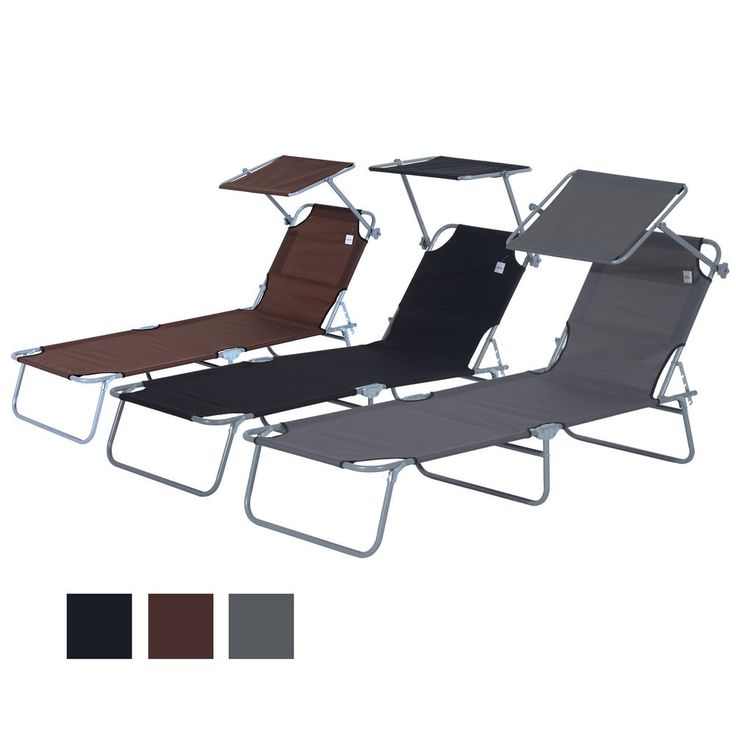 reclining sun lounger chair folding recliner garden adjustable patio w sunshade - Garden Furniture Loungers