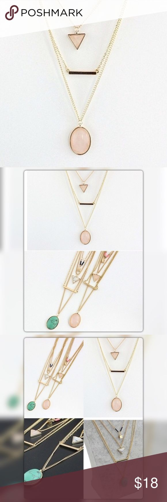 """Rose Quartz Olivia 4 Layered Necklace Gold plated chain. One necklace comes with Genuine Gemstone Rose Quartz Oval and pine triangle stone pendants, a golden bar and pink seed beads with a cute golden cube pendant.  necklaces measure as: The first layer chain is 16"""" long; the second chain is 18"""" long, the third chain is 22"""" long and the fourth chain is 24"""" long. The pendants measure 1.1"""" long Jewelry Necklaces"""