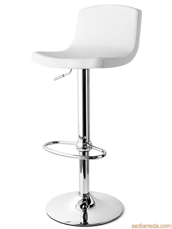 CB1532 Joe | Tabouret tournant et réglable en métal chromé avec assise en simili cuir blanc