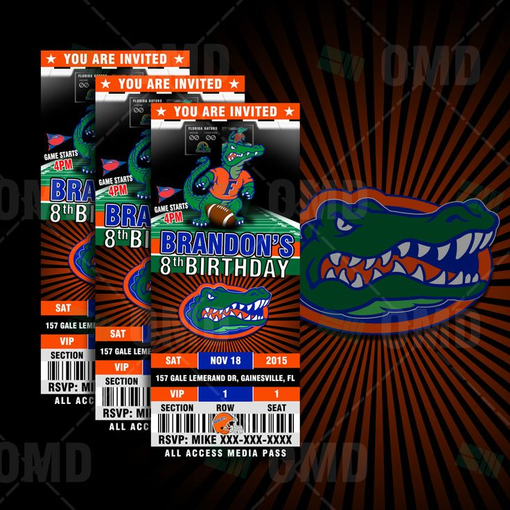 Florida Gators Sports Party Invitation, Sports Tickets Invites, UFL Football Birthday Theme Party Template by sportsinvites on Etsy