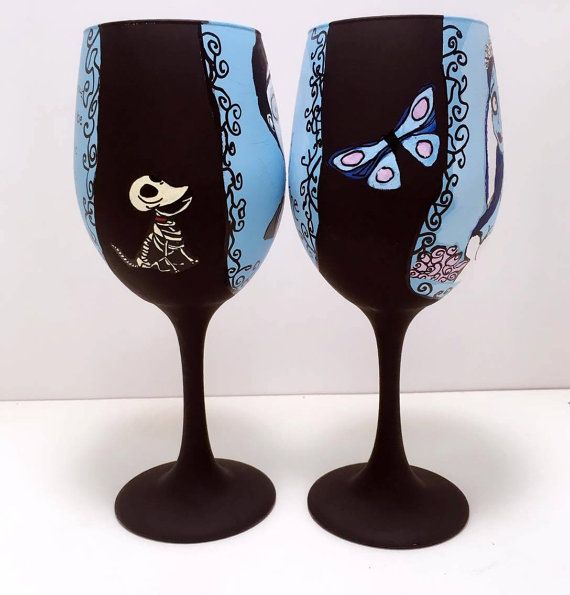 Corpse Bride Inspired Hand Painted Wine Glass. by AWhimsicalHoot