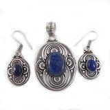Sodalite Stone Pendant Earring Set Silver Tone Metal Jewelry Fashion Jewellry