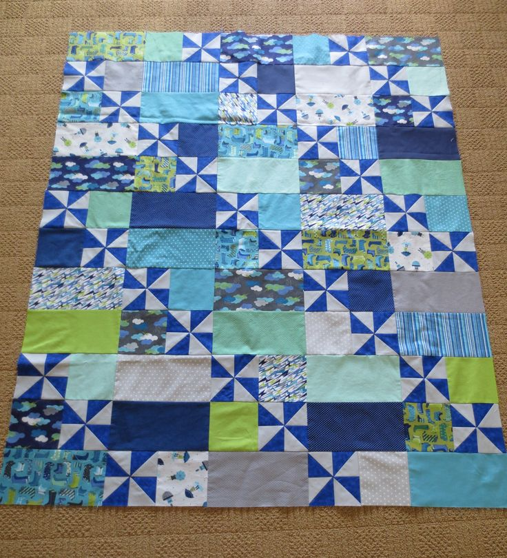 "Puddle Day Quilt - made with beautiful ""rain"" theme fabrics."