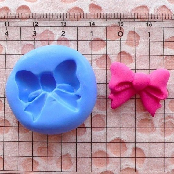 Ribbon / Bow (20mm) Silicone Flexible Push Mold - Miniature Food, Sweets, Jewelry, Charms (Clay, Fimo, Resins, Gum Paste, Fondant) MD744