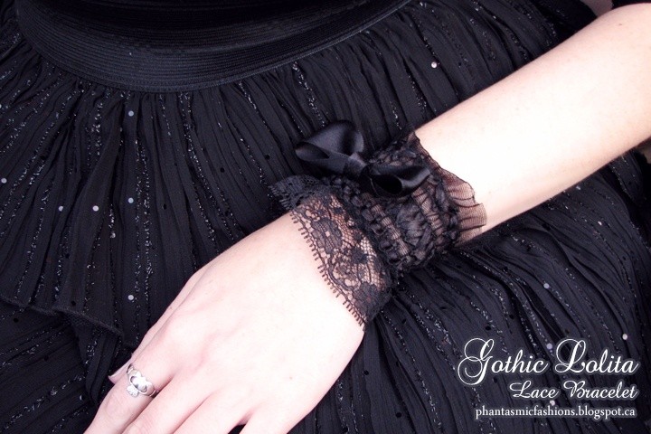 Phantasmic Fashions: Gothic Lolita Lace Bracelet Tutorial