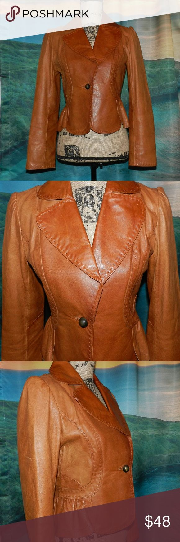 "VS Moda International Genuine Leather Jacket This jacket is absolutely stunning!! Beautiful feminine details and genuine leather - worn once!  Moda International from Victoria's Secret, size small.   Bust: 17.5"" laying flat Length: 20"" shoulder to hem Sleeve: 23.5"" shoulder to cuff  Ships same or next business day from smoke free home!! Moda International Jackets & Coats"