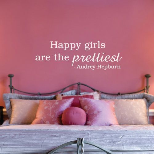 happy.: Little Girls, Quotes Wall, Daughters Rooms, Vinyls Wall, Girls Bedrooms, Wall Decals, Audrey Hepburn, Girls Rooms, Happy Girls