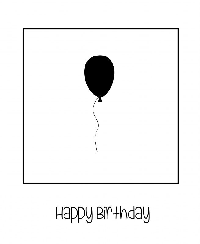 Zwarte ballon - polaroid - happy birthday