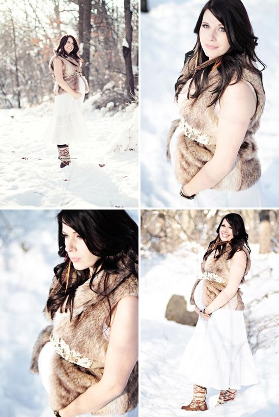 Snowy Winter Maternity Shoot
