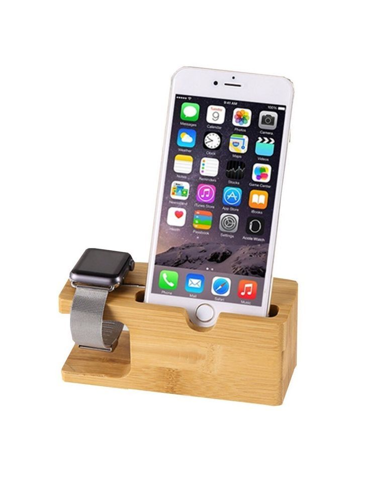 New 2016 2 in 1 Apple Watch and iPhone Bamboo Dock Charger | eBay