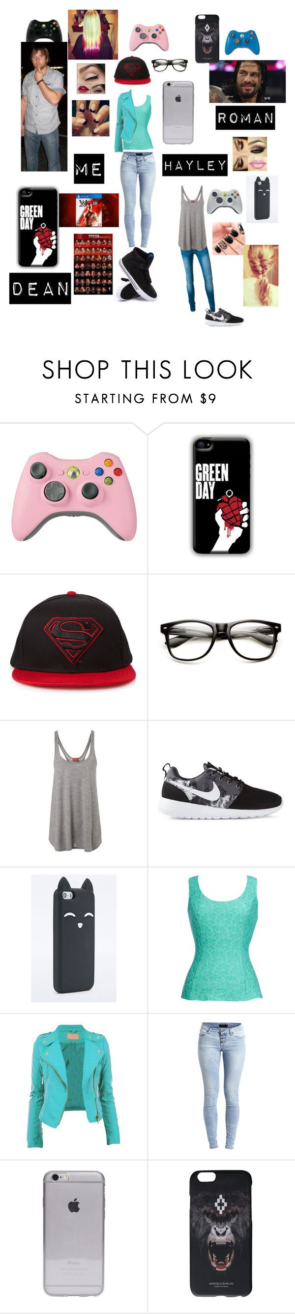 """""""Me, Hayley, Dean and Roman playing WWE 2K14 and WWE 2K15"""" by thefuturemrsambrose ❤ liked on Polyvore featuring 21 Men, Feel The Piece, NIKE, Thalia Sodi, Object Collectors Item, Marcelo Burlon, Supra and Hogan"""