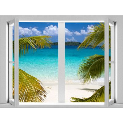 Image for uStrip Peel and Stick AMDPS7007 4-Feet by 3-Feet Removable Calm Cabana Beach Large Window Wall Mural from SHOP.CA