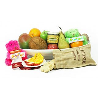 Presented in an ethos oval platter, this fruit hamper includes a wide selection of exotic fruits and accompanying items.