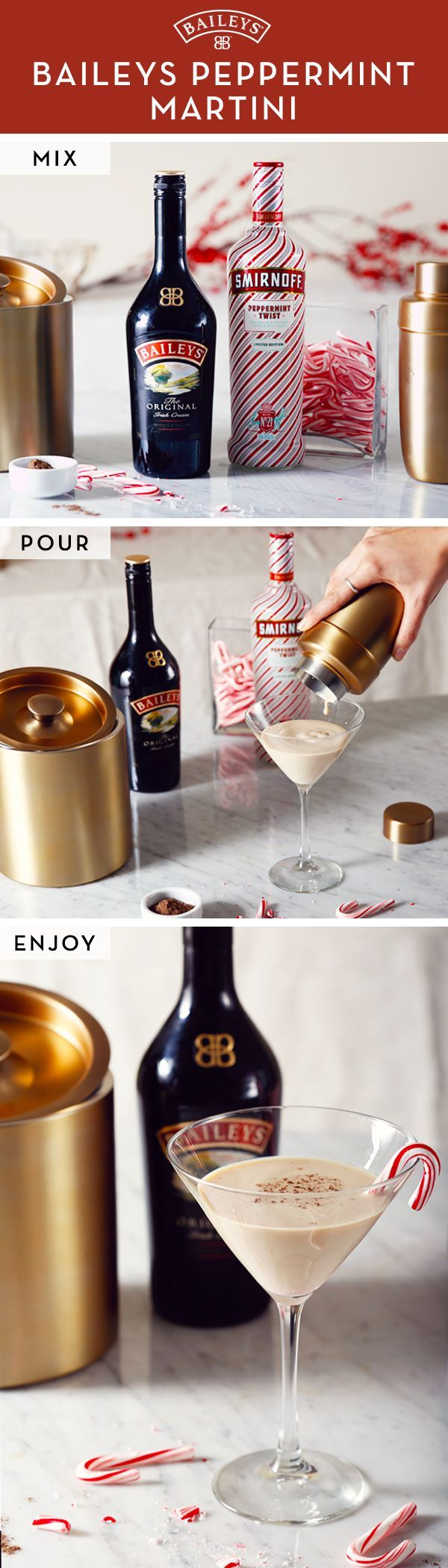 Paint your martinis red & white for the holidays! This sweet Baileys™ cocktail has the perfect hint of peppermint and vodka. If you're hostessing this season, there's no doubt your dinner party guests will love it. Try our easy 3-step recipe and enjoy!   1. Shake 1.25oz Smirnoff® Peppermint Twist & 0.5oz Baileys™ Original Irish Cream over ice. 2. Strain into a chilled martini glass. 3. Garnish with grated nutmeg and a mini candy cane.
