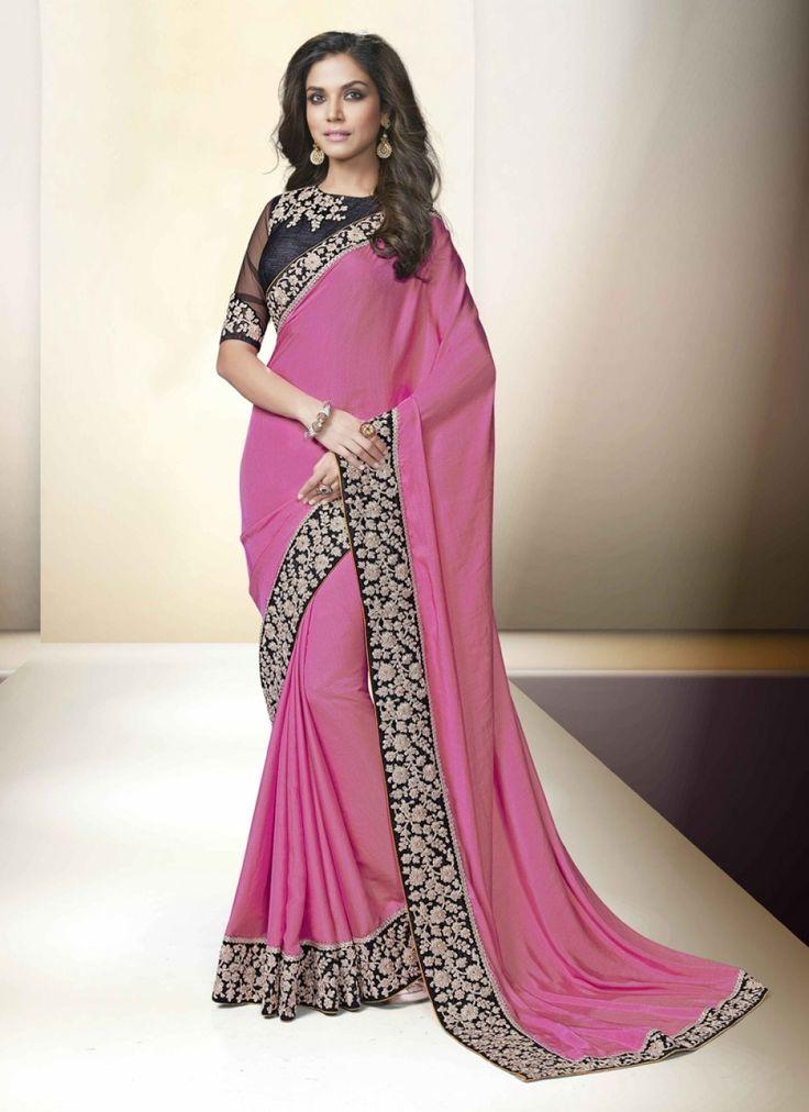 Patch Border Work Pink Chiffon Satin Designer Saree - shopneez.com