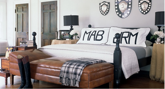Love the separate monograms and the large scale.: Benches, Elle Decor, Boys Rooms, Monograms Pillows, Equestrian Chic, Master Bedrooms, Elledecor, Badgley Mischka, Badgleymischka
