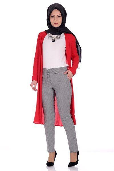 Kazayağı Desen Kalem Pantolon 7009 - Siyah Pantolon Modelleri - Kirazgiyim