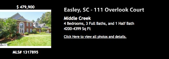 111 Overlook Ct. Easley MLS# 1317895 $479,000. Irresistible sprawling brick traditional! 4Br, 3 ½ bath awesome floor plan on a private cul de sac lot in Middlecreek! Elegant 2 story foyer with balcony & atrium window. Unbelievable amount of living space with a formal Living Room, Dining Room, Den with Fireplace & gas logs, plus 22 x 22 Great Room with a wall of built-ins & entertainment center. Newly remodeled kitchen with huge island , granite countertops, tile flooring & backsplash.