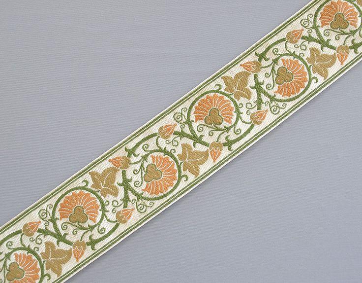 "Jacquard Ribbon Trim Medieval Arts Crafts Style Green 3 Yards 2 25"" Wide | eBay"