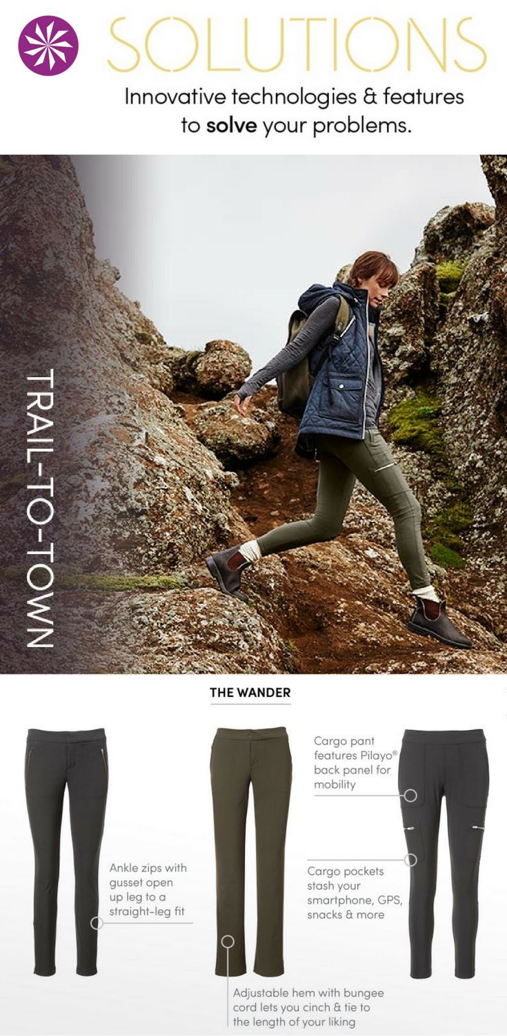 Stylish hiking pants: must-have trail ready bottoms, that are stretchy, rugged and abrasion-resistant with pockets and coverage we need.