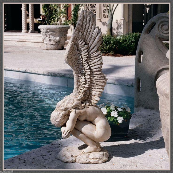Angel Statue Sculpture Beautiful Medieval Garden Decor Yard Art Patio  Ornament