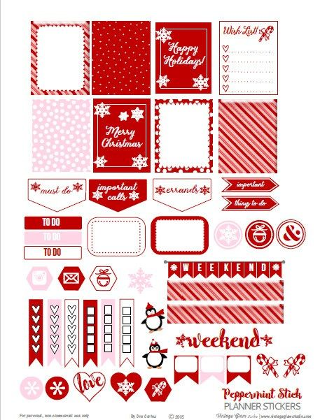 FREE Peppermint Stick Planner Stickers   Free printable download BY Vintage Glam Studio