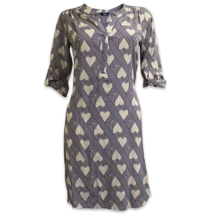 ♥ NEW Dorothy Perkins K&D Blue Ivory Heart Print Tunic Dress 8 to 20 ♥ in Clothes, Shoes & Accessories   eBay