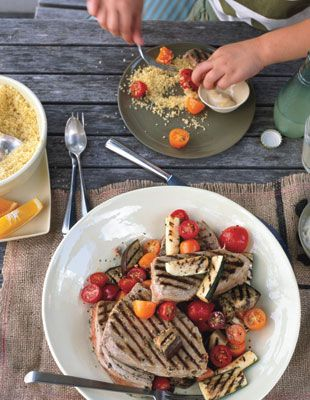 Grilled Tuna with Provençal Vegetables and Easy Aioli  Dinner for you and your kids—this grilled tuna recipe comes in a menu with plans for leftovers in our Family Style column. Serve grilled bread alongside the tuna. Be sure to buy domestic albacore to keep the mercury to a minimum.