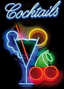 METALEN BORDEN : Neon Cocktails metalen bord