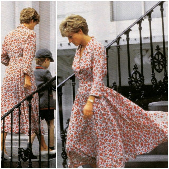 Laura Ashley Prints?: 01 July 1992: Wearing a floral print dress designed by Laura Ashley on the morning of her 31 birthday, proud royal mom Princess Diana was pictured taking her son to Wetherby School.