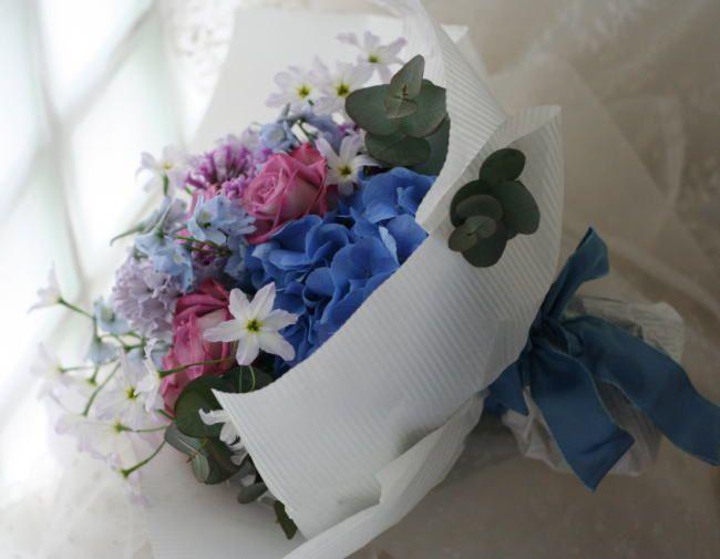 花束 青紫 : 一会 ウエディングの花