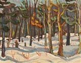 Sidney+Charles+Mooney+-+Forest+in+Winter,+Oil+on+panel+on+MutualArt.com