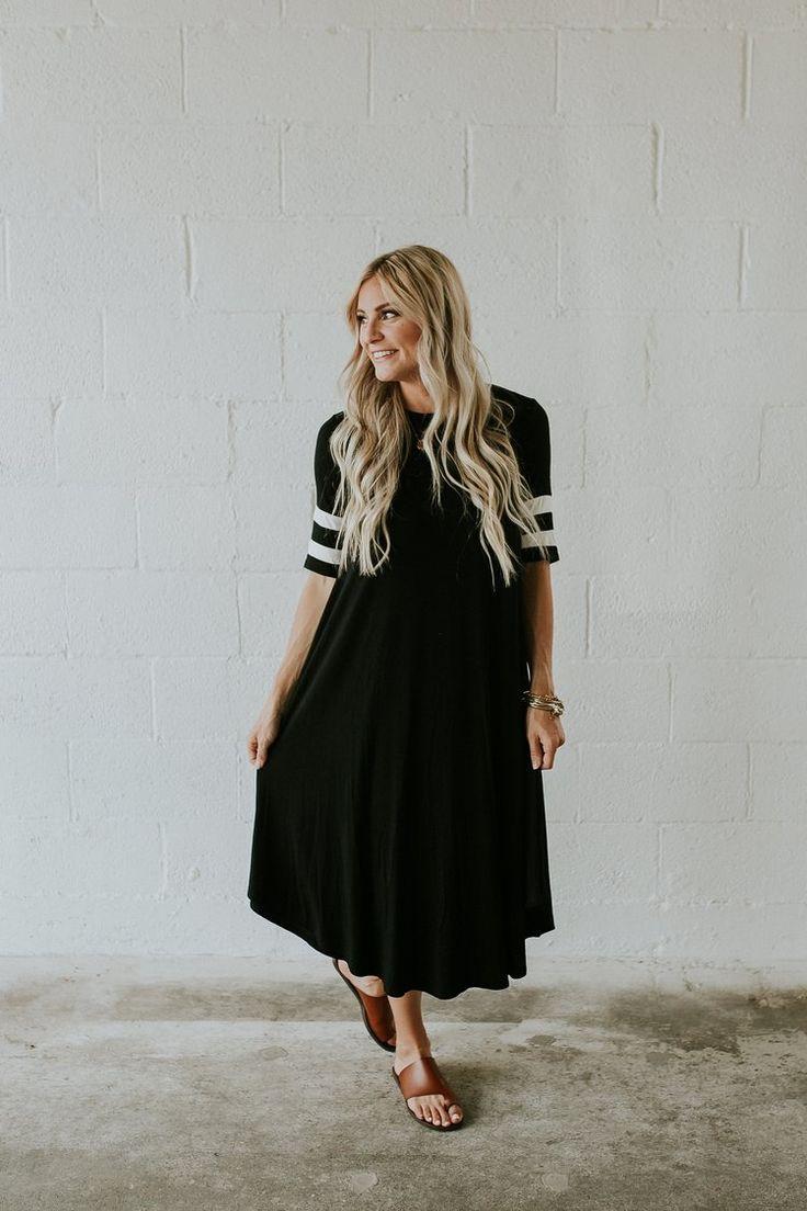 Stripe Sleeve Dress in Black | ROOLEE @court_housley