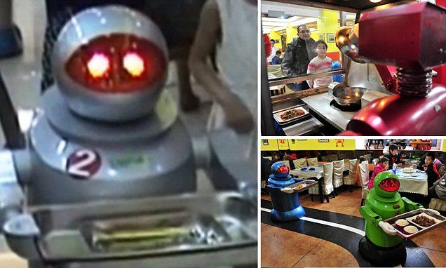 Meals on wheels! Robots deliver food to diners in a Chinese restaurant