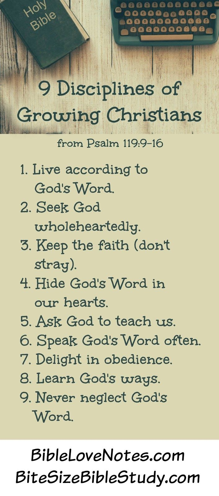 9 Disciplines of Growing Christians - from Psalm 119:12-16
