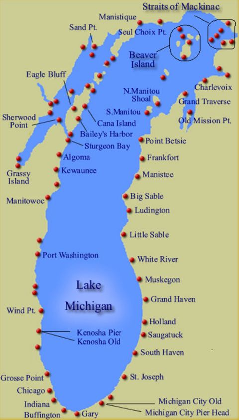 """Map showing the approx. 88 lighthouses along the shoreline of Lake Michigan, which has more lighthouses than any of the other Great Lakes. In contrast to Lake Huron's primarily rocky shoreline, Lake Michigan's shores is blanketed with magnificent sand dunes, causing the shoreline from the Indiana border to Sleeping Bear Dunes to be dubbed """"Michigan's Golden Coast""""."""