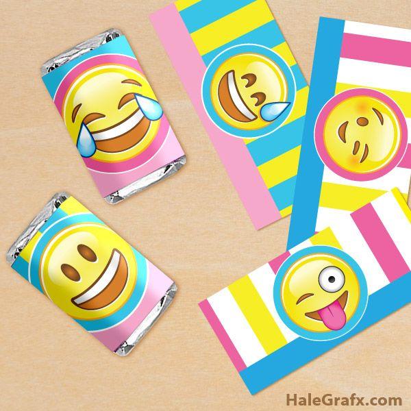 FREE printable emoji mini candy bar wrappers