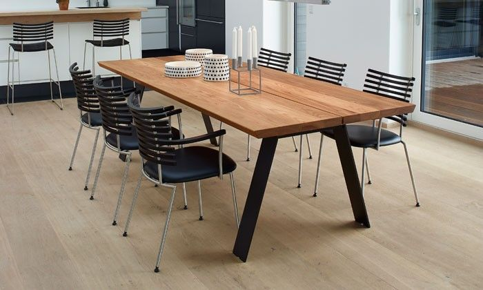 Table de salle à manger scandinave Plank GM3200 bois massif-NAVER