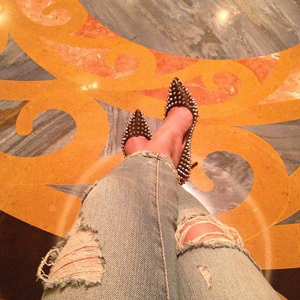 I tried on a pair in the Christian Louboutin store at the Dubai Mall and fell in love with them. Ripped denim jeans