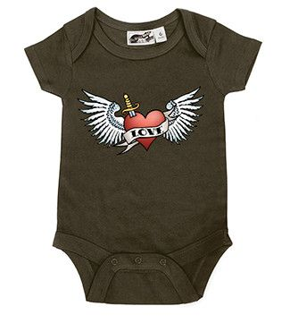 Winged Heart Tattoo Brown One Piece